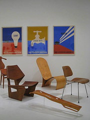 Modern furniture and a leg splint (Nika) Tags: newyorkcity newyork art museum modern chairs furniture moma eames