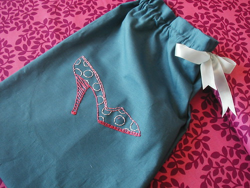 Shoe bag by Nicole Vasbinder of Queen Puff Puff