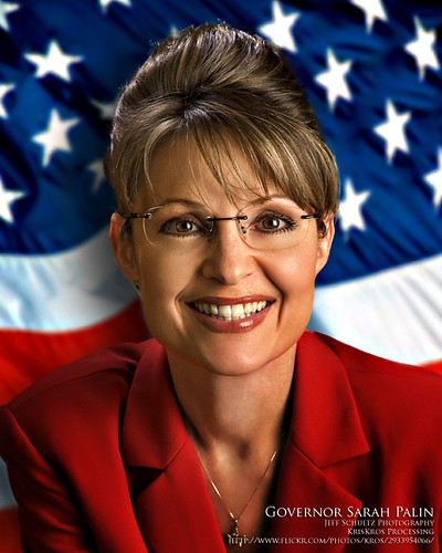 governor sarah palin and the flag ... not an endorsement ... i neither approve or disapprove the personality ... although i approve my processing