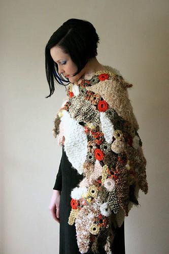 Prudence Mapstone's easy freeform knit & crochet Falling Leaves Wrap