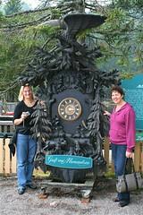Inge & Margit at clock (johntestsgo) Tags: germany schwarzwald mummelsee canondigitalrebelxti