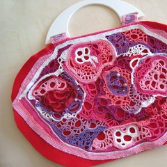 WIP Strawberry Bag (saraaires (quartodeideias)) Tags: pink bag women handmade crochet rosa craft wip purse etsy tote mala freeform