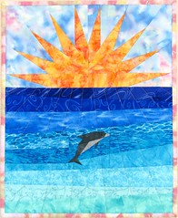Swimming in the Sun (emma_louise) Tags: blue original sun art beach water seaside doll quilt dolphin quilting splash fiberart patchwork homedecor miniquilt foundationpieced fmq ebdqs sampaguitaquilts