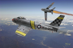 F-86 Sabre Mig Alley (Hyong) Tags: sky airplane fighter aircraft aviation air jet sabre airforce usaf pilot warbird koreanwar f86  mig15 migalley northamerican          15