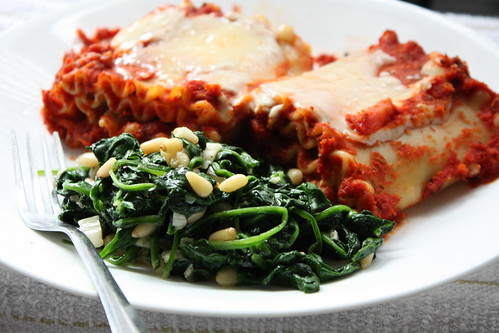Lasagna Spiral Rolls and Spinach