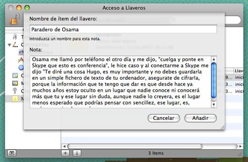 Captura de la utilidad Acceso a Llaveros de Mac OS X