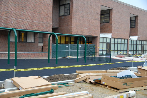 The outdoor playground installation has begun