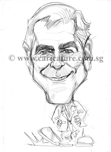 Celebrity caricatures - George Clooney pencil sketch watermark
