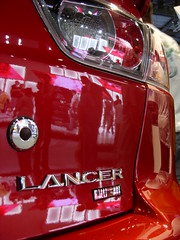 Ralliart (JSFauxtaugraphy) Tags: auto show red white cars colors car reflections joseph photography la bokeh samsung automotive stevenson badge ralliart lancer mitsubishi josephs s85