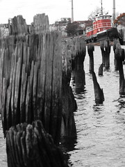 Red Tugboat (Reyshelle) Tags: wood red water tugboat