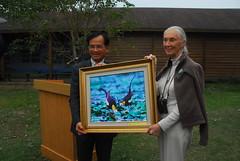 台南縣長蘇煥智迎接珍古德參訪水雉復育園區