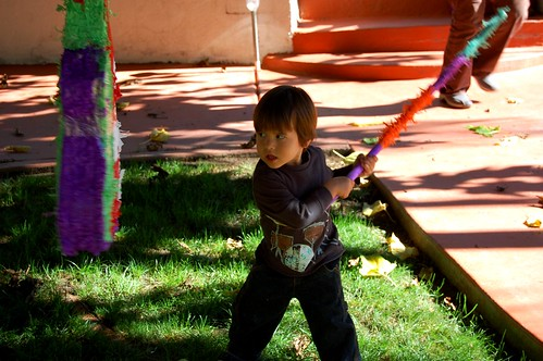 B-day boy and his pinata