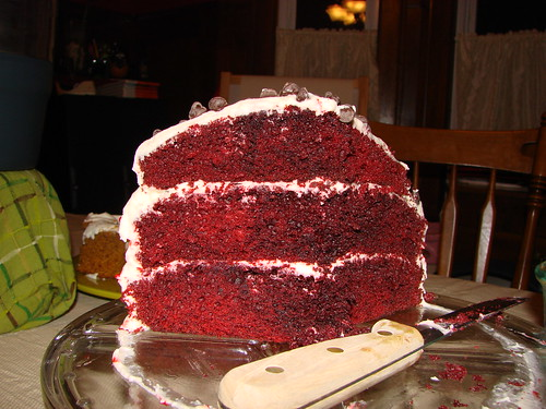 Red velvet cake, devoured