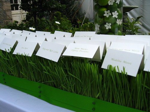 wheat grass arrangement, creative way to use wheat grass with escort cards