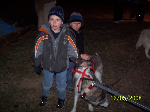 Jacob Bradey and snow dog