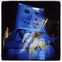 Robotic Nightlife (Claire Marie Vogel) Tags: california blue chris costumes party portrait film halloween valencia smile drunk happy photography robot weird photo dance costume claire holga scary exposure dancing character arts double institute spooky cal characters medium format 2008 vogel ruiz calarts sqaure