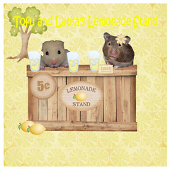 Tofu and Latka's Lemonade Stand (ChocoladeHam) Tags: wood friends summer money tree cute ice fun glasses stand yummy lemon drink juice 5 tofu adorable fresh lemonade sugar lemons cents packet hamsters straws thirsty squeezed latka mycha