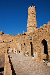Ribat in Monastir (Siuloon) Tags: life africa city blue color tower castle film tourism architecture canon landscape arch tunisia brian muslim islam north arabic bleu python tunes fortifications fortress monty tunisie islamic sidi monastir zamek architektura ribat eos30d munastir