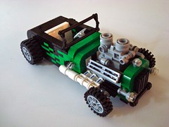 '31 Roadster (Lino M) Tags: black hot green ford car 1931 lego flames rod custom build 31 challenge lino lugnuts roadster kickinitoldschool
