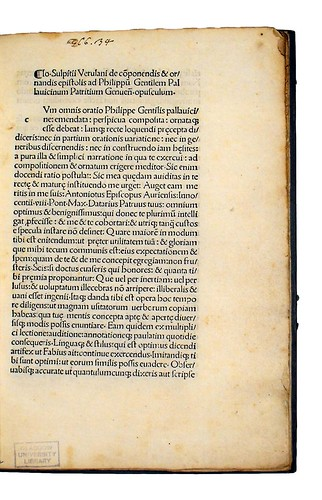 Title incipit from Sulpitius Verulanus, Johannes: De componendis et ornandis epistolis. De Syllabarum quantitate epitome