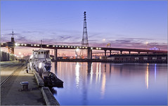 Winter blues (aumbody images) Tags: city longexposure bridge panorama colour reflection water night buildings cityscape australia melbourne victoria docklands hdr sheds 30d boltebridge yarrariver hugin aumbodyimages tamron2875