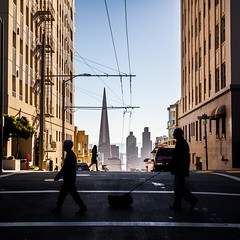Morning Strolls (Bryan Nabong) Tags: sanfrancisco california city urban silhouette northerncalifornia walking unitedstates streetphotography northamerica nobhill dogwalking transamericabuilding