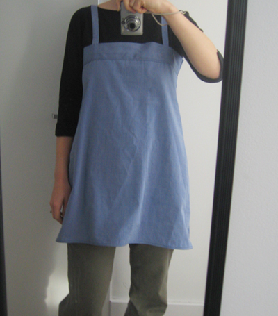 Smock from blue men's shirt (w/o pocket)