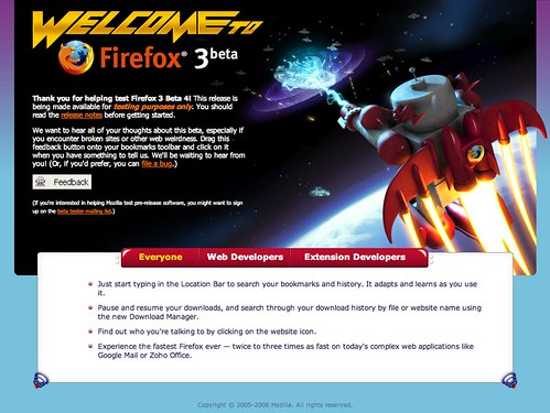 Firefox 3 Beta 4 first run page