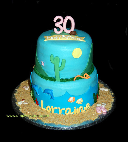 30th birthday desert and ocean scene cake