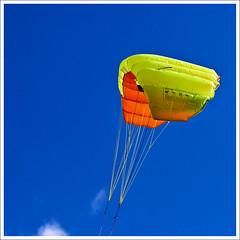 Power Foil pulling hard (hz536n/George Thomas) Tags: blue summer sky orange kite oklahoma yellow stillwater 2008 cs3 canon30d canonef70200mmf4lusm