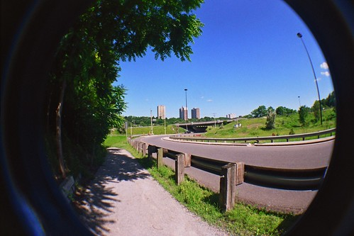 Along side Bayview Avenue, and in the distance is the Don Valley Parkway