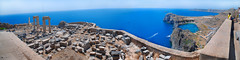 View from the Acropolis of Lindos (MarcelGermain) Tags: sea panorama archaeology geotagged nikon ruins view horizon columns aegean greece acropolis rhodes lindos rodes akropolis grcia   d80 marcelgermain