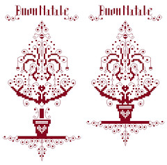 Red Tree (Marika Belfiori) Tags: red tree rouge born crossstitch heart coeur adobes them albero natale rosso cuore dcorations puntocroce addobbi freepattern schemafree arbr2 freecrossstitch puntodecurx grillesfree