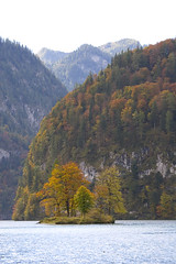 Knigssee island in autumn (xoque) Tags: autumn germany berchtesgaden knigssee