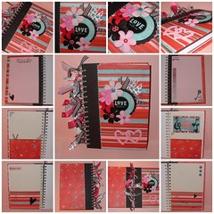"Altered Notebook - ""Heart Throb"" (yifatiii) Tags: love altered scrapbook scrapbooking paper notebook spiral ribbons heart stickers gift alteredbook etsy prima alter checkered brads heartthrob cardstock chipboard throb bobunny rubons cardstocks"