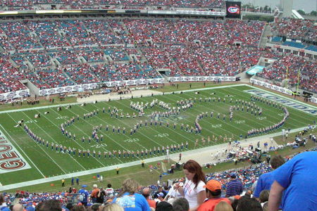 The Gator Band makes a tribute for the Dark Knight against Georgia in 2007.