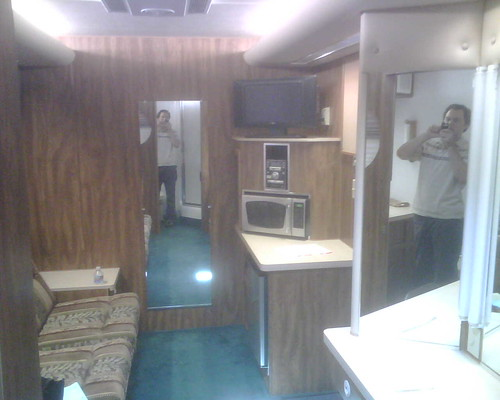 Stephen in his trailer.