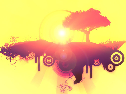 Vectorial_Sunset_by_solenero73 / Arbol Charyou