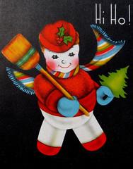 Hi-Ho! (R.Berdar) Tags: christmas snowman vintagegreetingcards oldcards greetingcardschristmascard