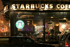 Late night latte for the insomniacs (NYCandre) Tags: newyorkcity coffee night manhattan guesswherenyc starbucks nycguessed frankensteinguessed starbk0237