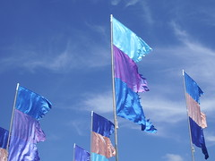 WOMAD blue flags and sky