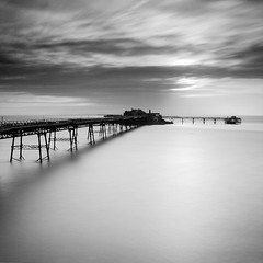Birnbeck Pier II (Adam Clutterbuck) Tags: ocean uk greatbritain sea england blackandwhite bw seascape abandoned monochrome square landscape mono coast pier blackwhite seaside unitedkingdom britain squares jetty somerset bn severn coastal shore elements gb bandw sq derelict oe westonsupermare weston crumbling birnbeckpier birnbeck wsm greengage adamclutterbuck sqbw bwsq showinrecentset openedition
