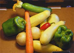 Late summer garden vegetables