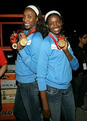 wnba players flossing their medals
