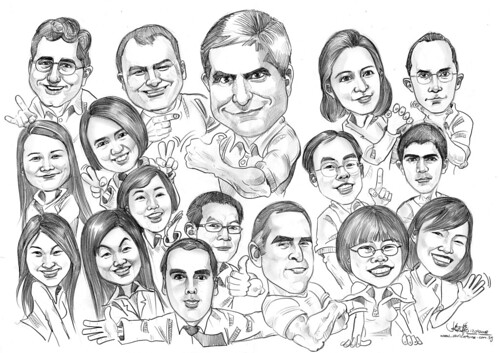 Group caricatures in pencil for JP Morgan