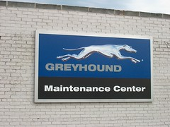 The Greyhound Bus maintenance facility on North Halsted Street. Chicago Illinois. October 2006.