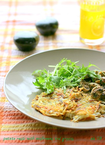potato rosti with thyme sauteed mushrooms