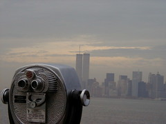 Staten Island Ferry 2001 (Steven Bornholtz) Tags: world new york 2001 city nyc summer urban usa june metal ferry america skyscraper buildings island photography us photo downtown dj cityscape view cloudy manhattan united steve towers foggy picture twin overcast center 01 wtc steven states gotham midway trade staten olypmus gothim 400z bornholtz djmidway