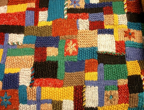 random knitted intarsia fabric