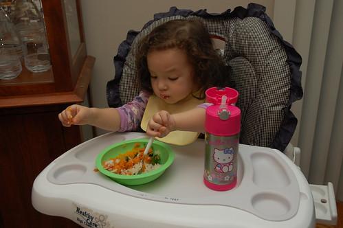 Eating dinner